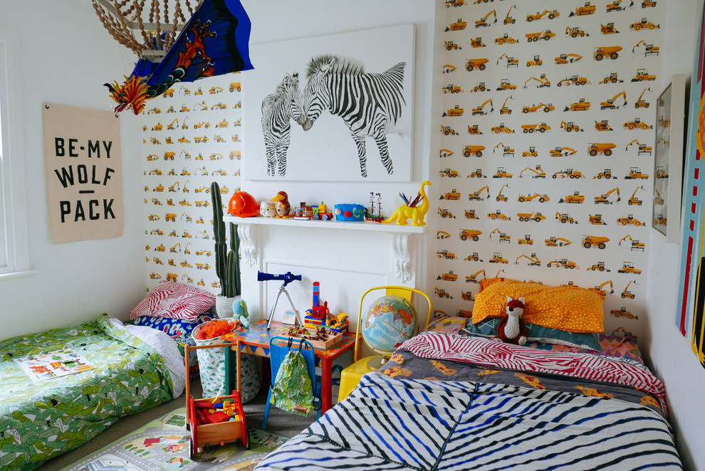 Example of an eclectic boy carpeted kids' room design in Sydney with white walls