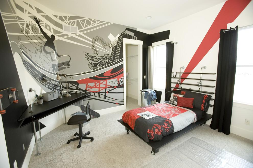Example of a trendy boy carpeted kids' room design in Cincinnati