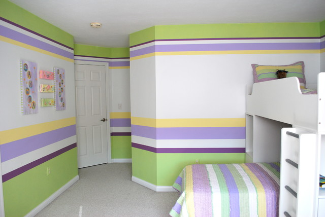 Horizontal stripes traditional kids other metro by for Painting stripes on walls in kids room