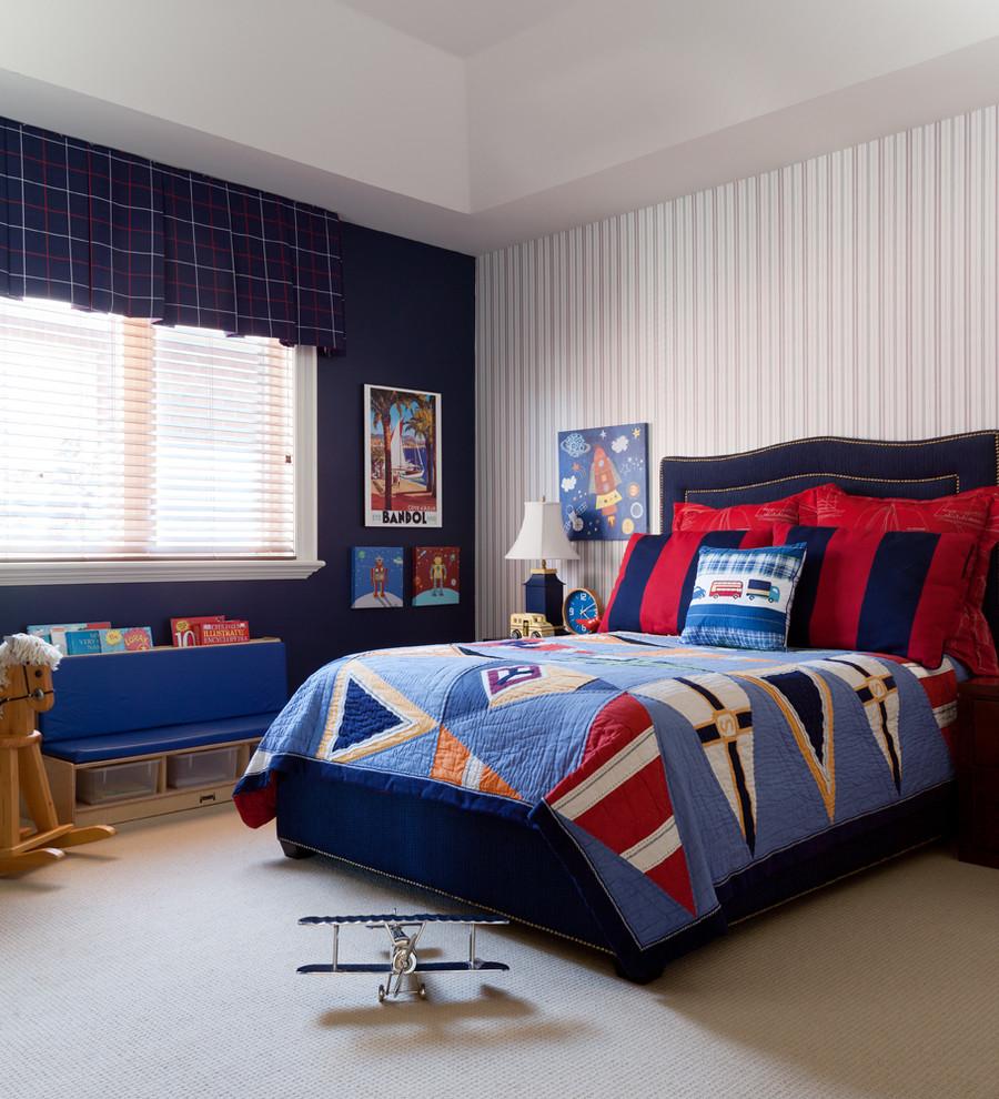 Example of a classic boy beige floor kids' room design in Toronto