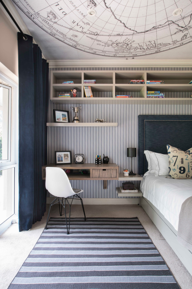 Mid-sized transitional boy carpeted, gray floor, wallpaper ceiling and wallpaper kids' room photo in Other with gray walls