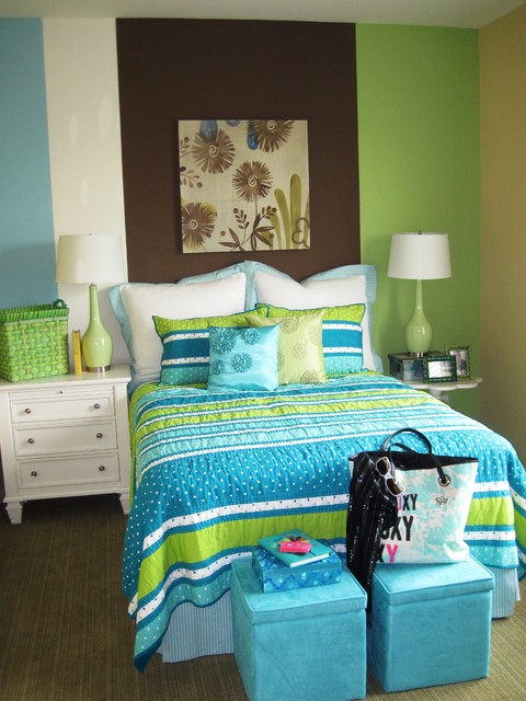 Summer Color Combo Turquoise And Lime, Turquoise And Lime Green Bedding