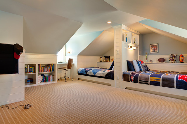 slanted ceiling bedroom decorating ideas - Hyde Park Boys Attic Bedroom Suite Traditional Kids