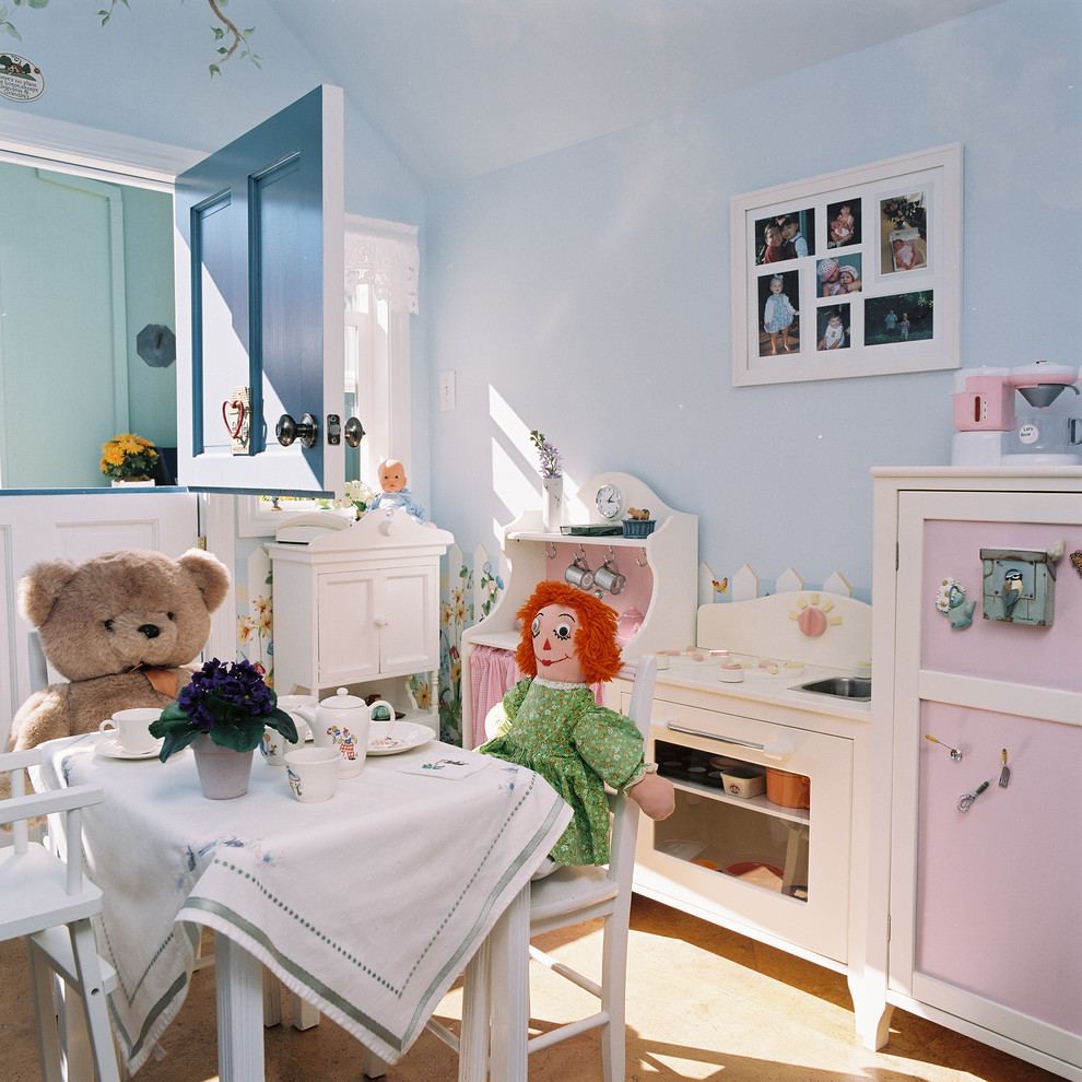 Kids' room - mid-sized traditional gender-neutral cork floor kids' room idea in San Francisco with blue walls