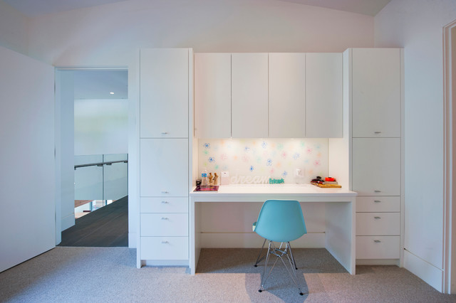 Interiors modern kids vancouver by revival arts for Built in study table