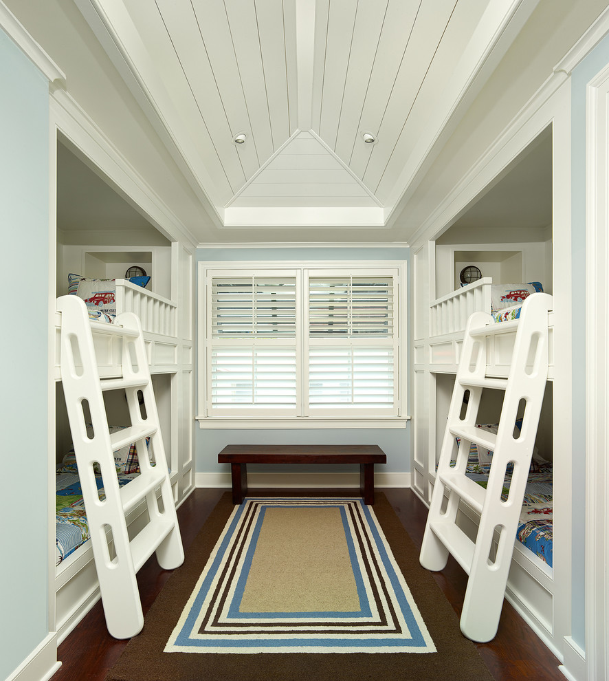 Inspiration for a tropical kids' room remodel in Charleston with blue walls