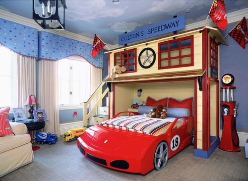 automobile themed room for kids on houzz