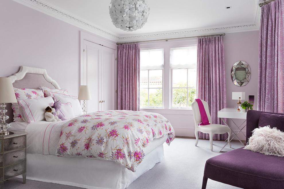 Kids' bedroom - traditional girl kids' bedroom idea in San Francisco with purple walls