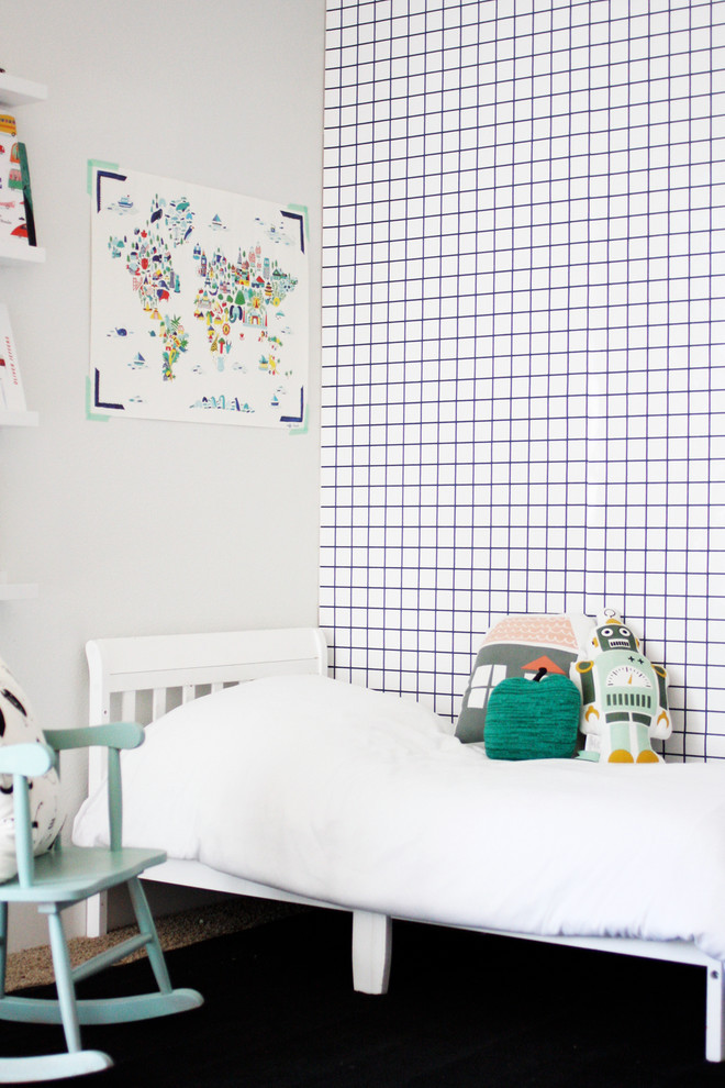 Inspiration for a contemporary gender-neutral kids' room remodel in Boise with white walls