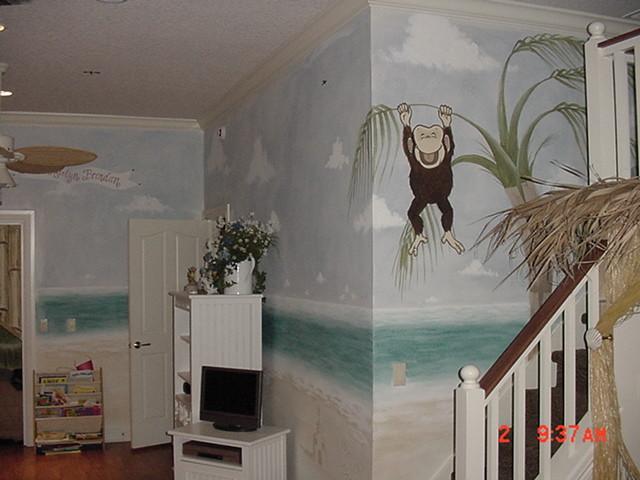 Jungle themed kids room tropical-kids