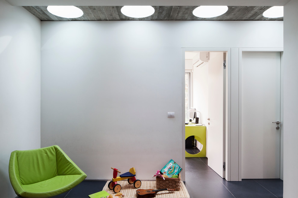 Kids' room - modern kids' room idea in Other with white walls