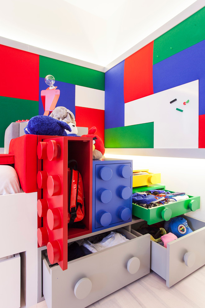 Example of a trendy kids' bedroom design in Other with multicolored walls