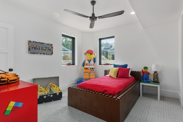Example of a large trendy porcelain floor and gray floor kids' room design in Salt Lake City with white walls