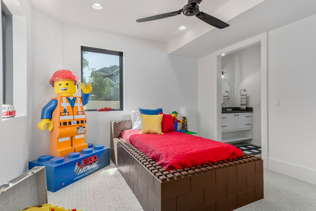 Large trendy porcelain floor and gray floor kids' room photo in Salt Lake City with white walls