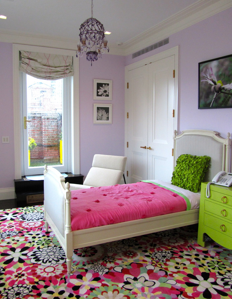 Kids' room - contemporary girl kids' room idea in New York with purple walls