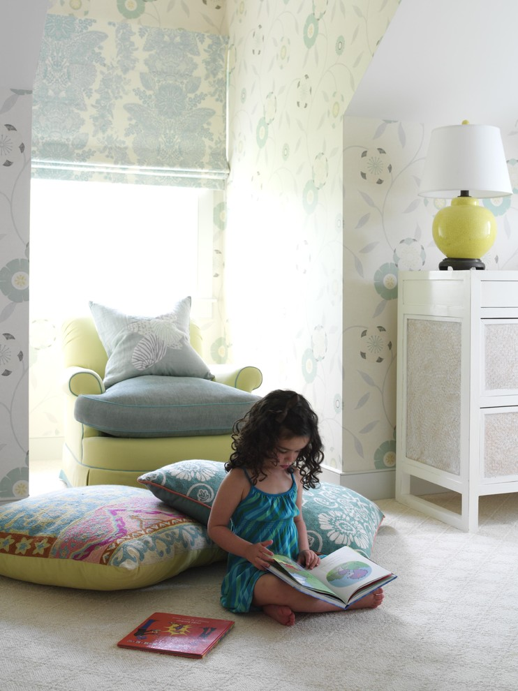 Example of a large coastal girl carpeted kids' room design in New York with multicolored walls