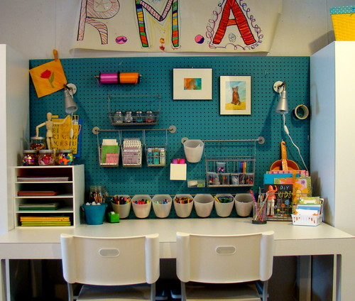 By Using A Peg Board And Containers Your Creative Homework E Doesn T Even Need To Take Up Much Room