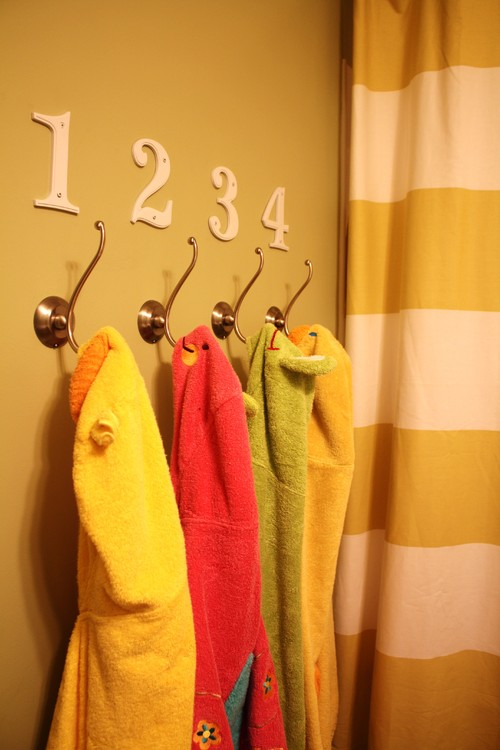 Kids Robe and towel hooks.