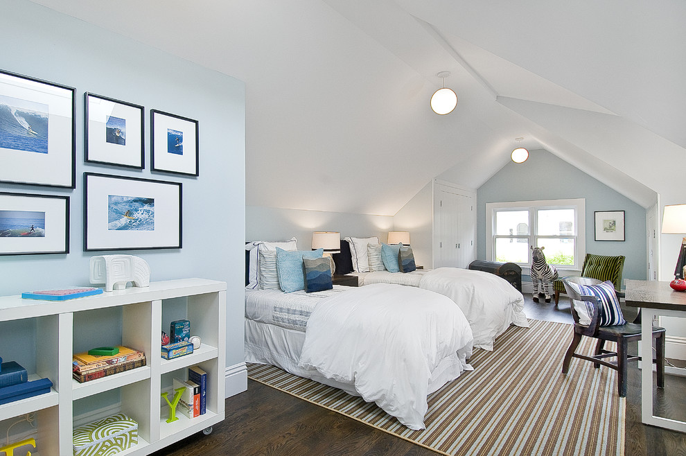Inspiration for a timeless gender-neutral dark wood floor kids' room remodel in San Francisco with blue walls