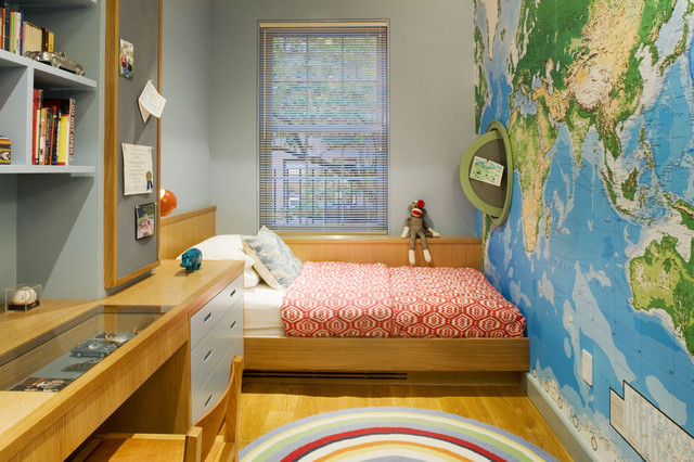 Kids bedroom contemporary kids new york by dufner for Kids room world map