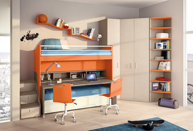Kids bedroom solution with movable elements contemporary-kids