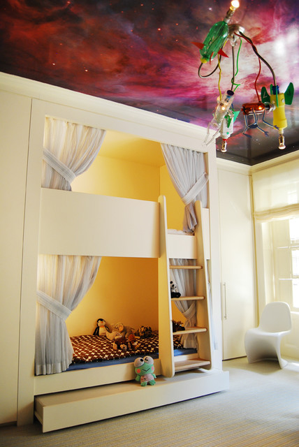 Kids Bedroom With Galaxy Wallpaper On Ceiling