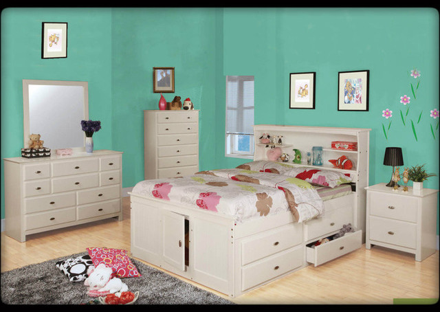 Kids Cream Bookcase Full Captain Bed - Traditional - Kids - los ...