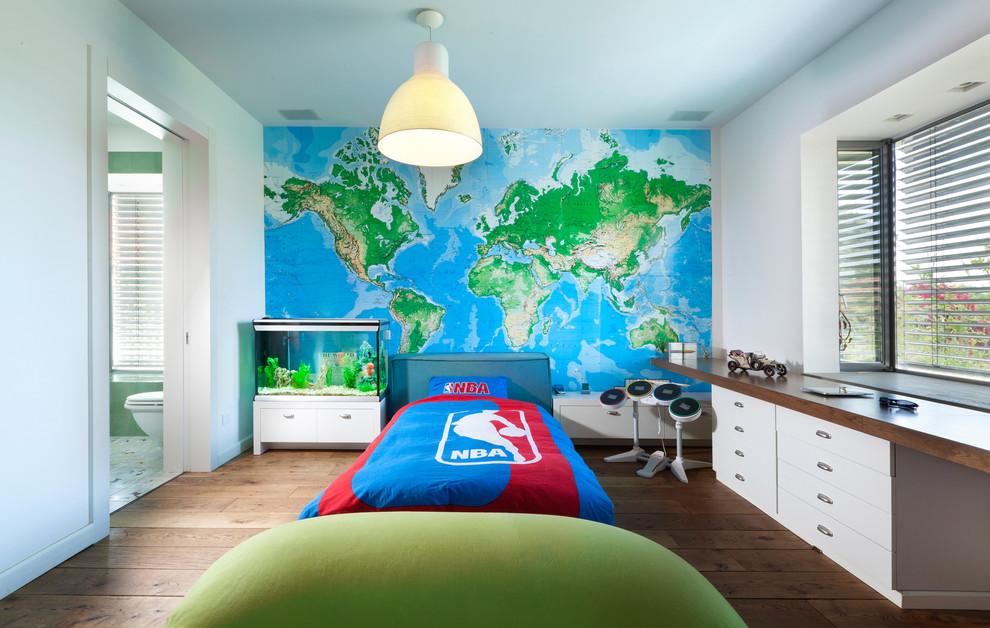 Kids' room - eclectic boy medium tone wood floor kids' room idea in Other