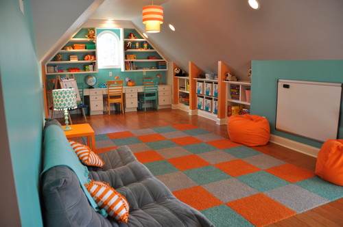 bright colors in an attic playroom inspire kids