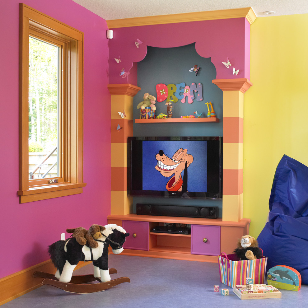 Inspiration for an eclectic playroom remodel in Vancouver with multicolored walls