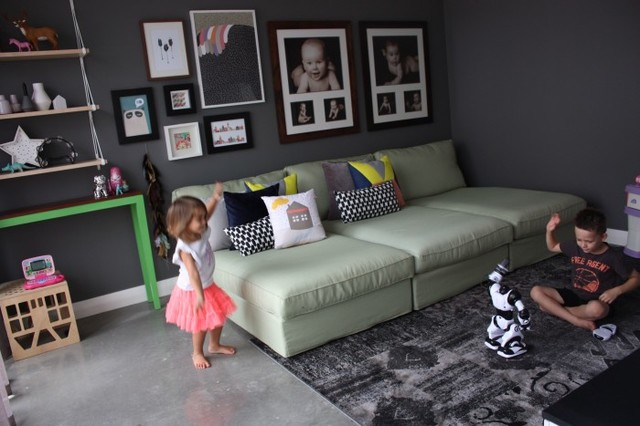 Kids Playroom with 3 Ikea Kivik chaise lounges Contemporary