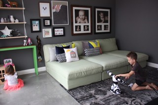 Kids Playroom with 3 Ikea Kivik chaise lounges