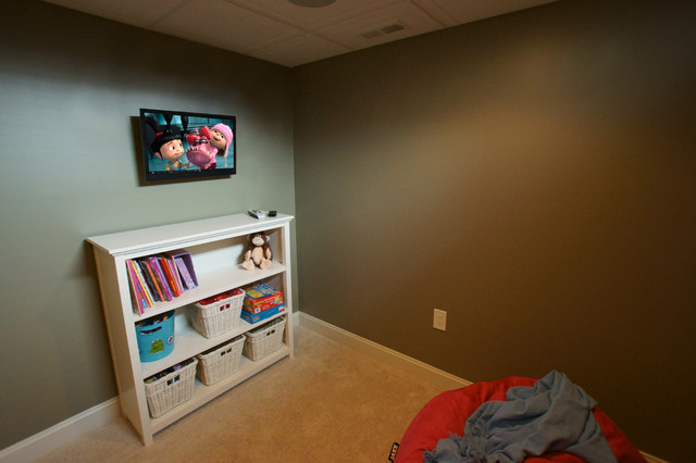 Kids Playroom With Tv And Toy Storage Traditional Kids