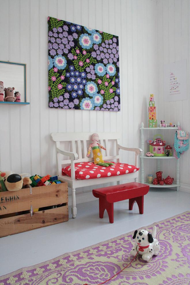 Kids' room - scandinavian girl painted wood floor and gray floor kids' room idea in Other with white walls