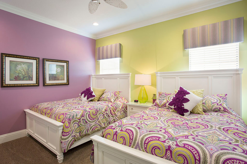 Inspiration for a timeless girl carpeted kids' room remodel in Orlando with multicolored walls