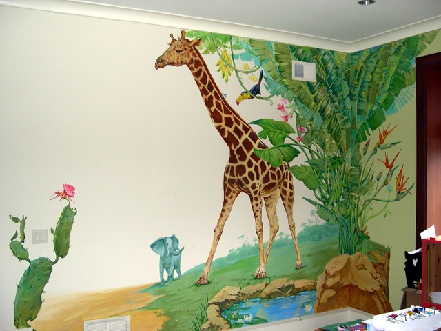 Kids room mural tropical kids new york by themurals for Childrens butterfly bedroom ideas