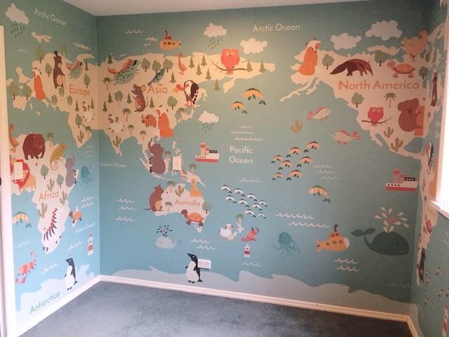 Kids World Map Wallpaper Mural Contemporary Kids