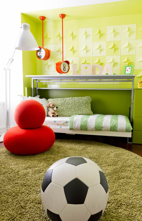 Child's room with yellow and white wallpaper and red bean bag