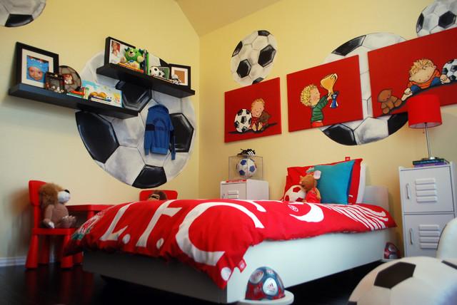 Kix 39 s soccer room traditional kids dallas for Boys football bedroom designs