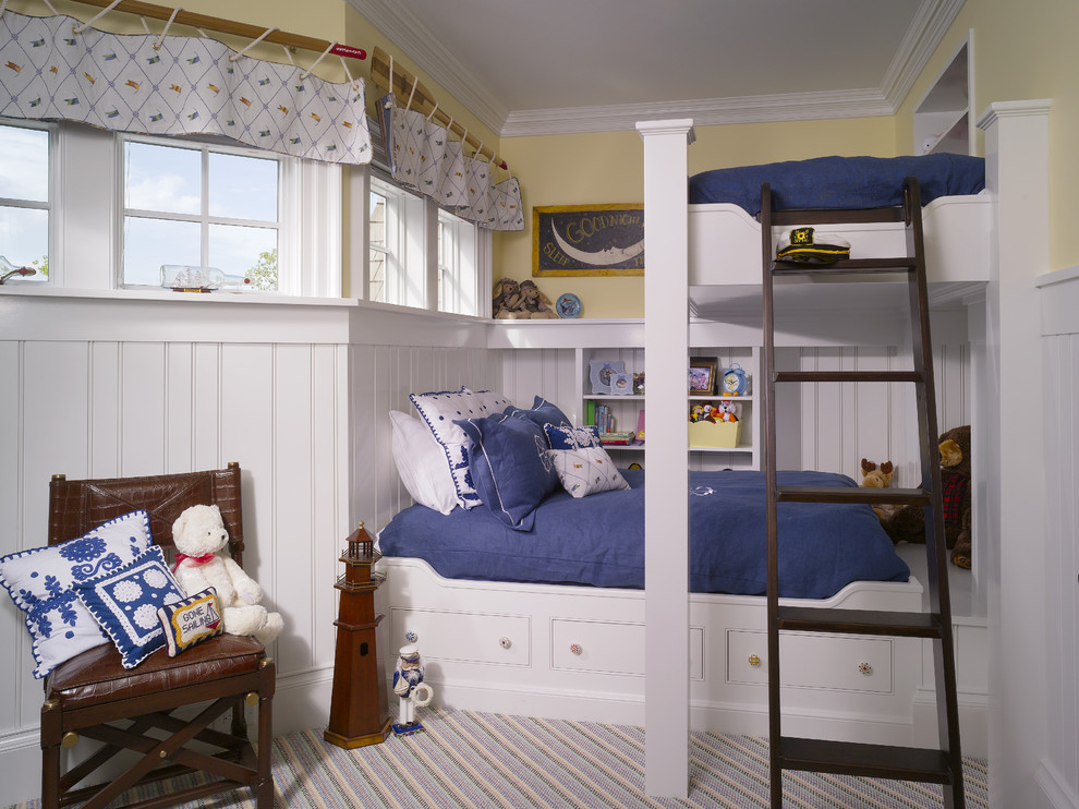 Elegant gender-neutral carpeted kids' room photo in Other with yellow walls