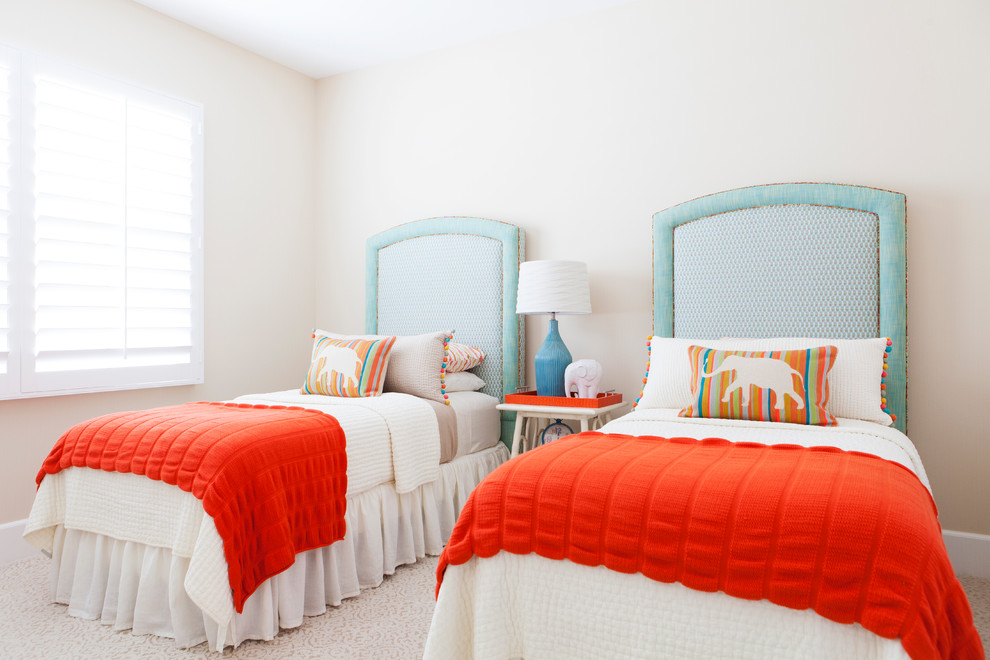 Tuscan carpeted kids' bedroom photo in Orange County with white walls