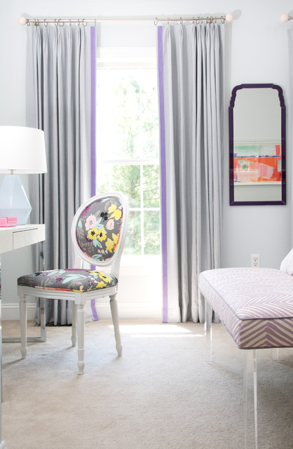Lavender Trimmed Pleated Curtains eclectic-kids