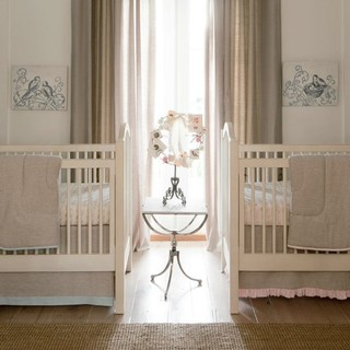 Light Pink Linen Crib Bedding Collection by Carousel Designs traditional-kids