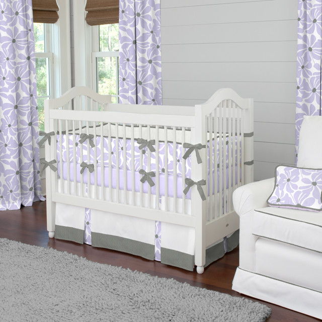 Lilac Twirly Crib Bedding
