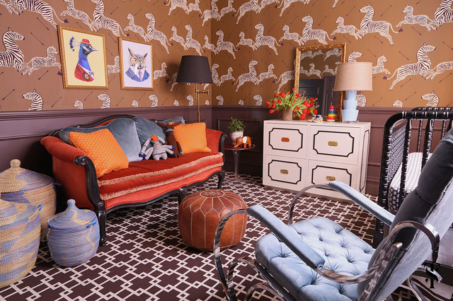 Large eclectic gender-neutral carpeted kids' room photo in Chicago with multicolored walls