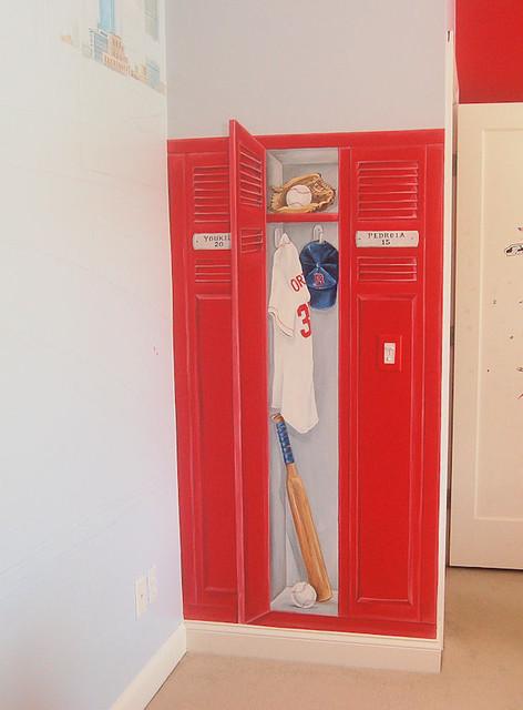 Comsports Locker For Kids Room : Locker Mural - Traditional - Kids - boston - by MacMurrayDesigns