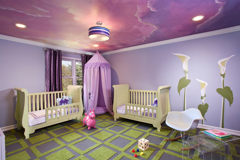 Kids' room - contemporary multicolored floor kids' room idea in New York with purple walls