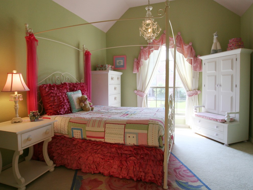 Inspiration for a timeless girl carpeted kids' bedroom remodel in Dallas with green walls
