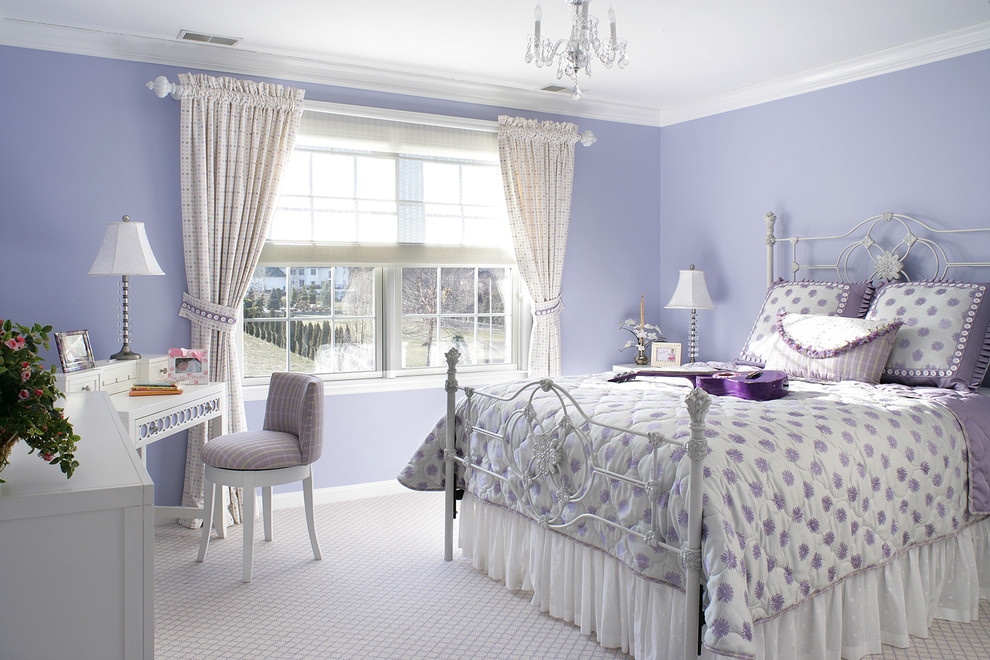 Mid-sized eclectic girl carpeted kids' room photo in Newark with purple walls