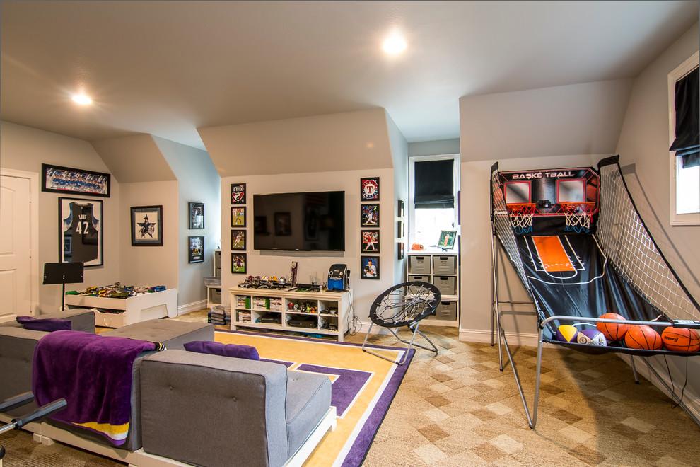 Lsu Football Gameroom Transitional Kids New Orleans By Purple Monkey Interiors